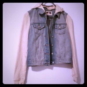 Jackets & Blazers - Jean jacket with cream sleeves